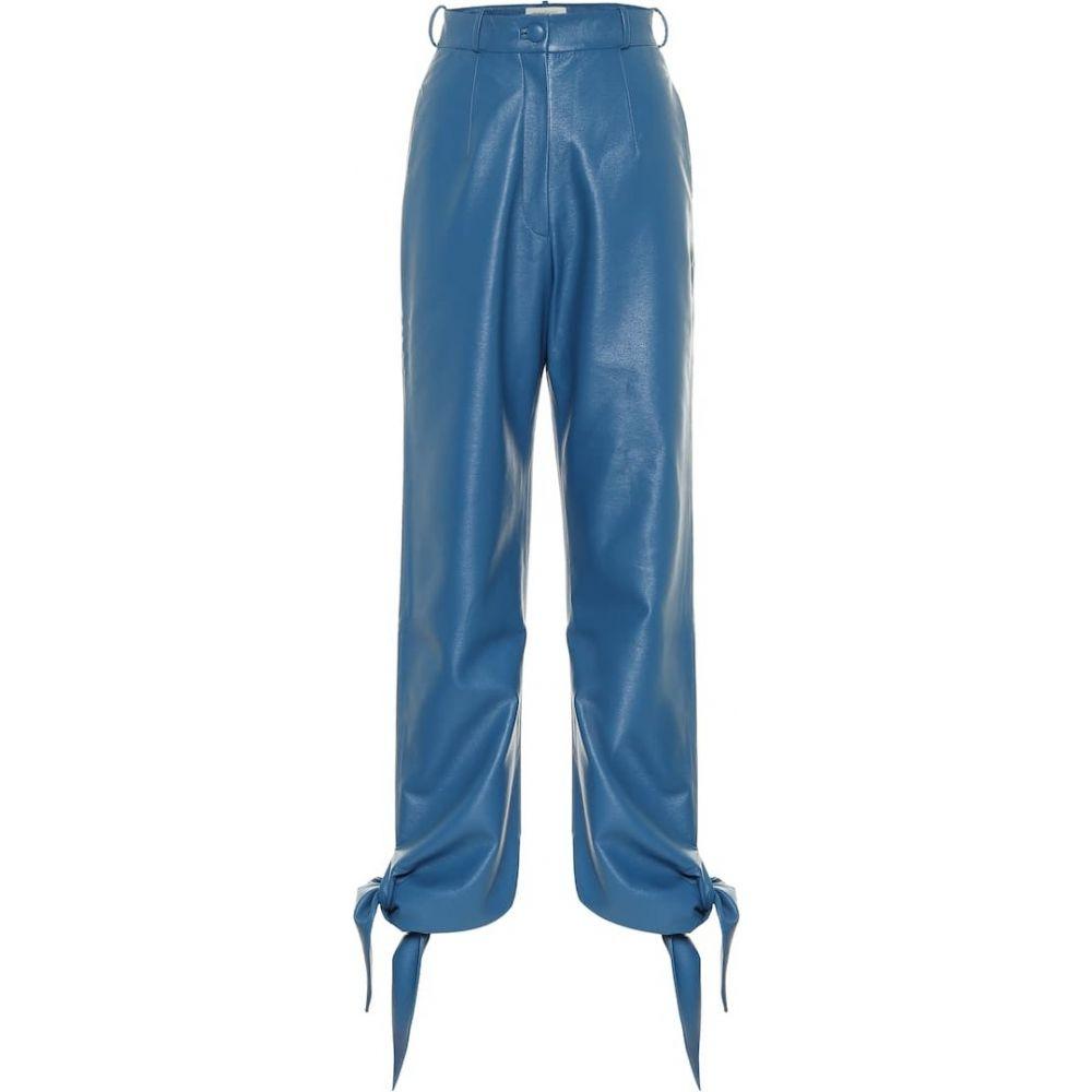 マテリエルティビリシ Materiel Tbilisi レディース ボトムス・パンツ 【High-rise faux-leather pants】Blue