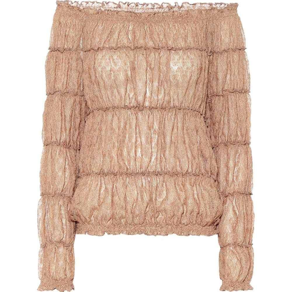 ミッソーニ Missoni レディース オフショルダー トップス【Metallic knit off-shoulder blouse】Gold