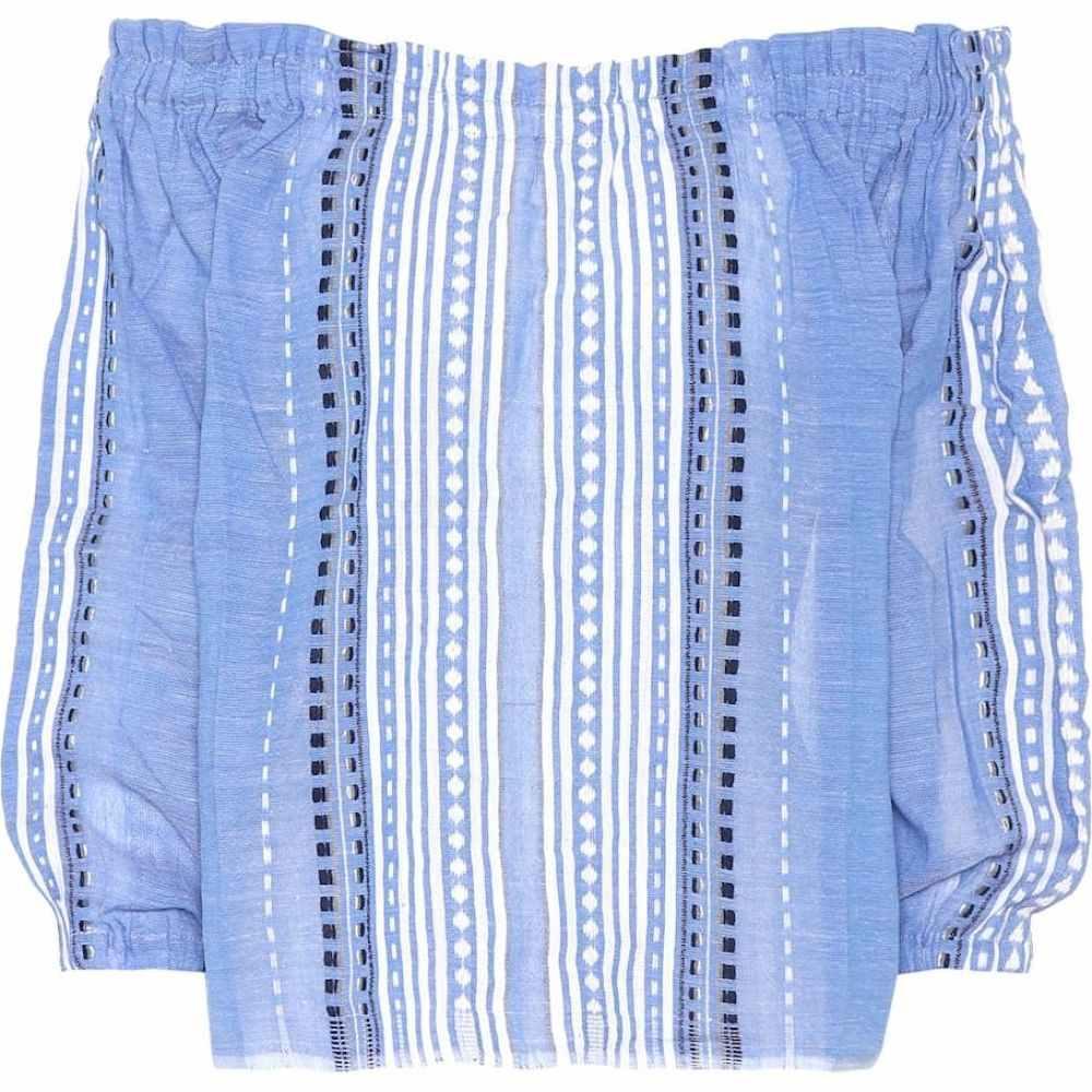 レムレム Lemlem レディース ビーチウェア トップス 水着・ビーチウェア【Izara Rustic cotton-blend top】Blue