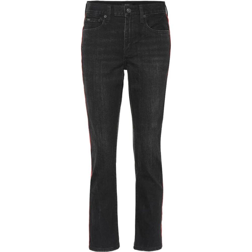 ラルフ ローレン Polo Ralph Lauren レディース ジーンズ・デニム ボトムス・パンツ【Waverly high-rise slim jeans】Washed Black With Red Stripe
