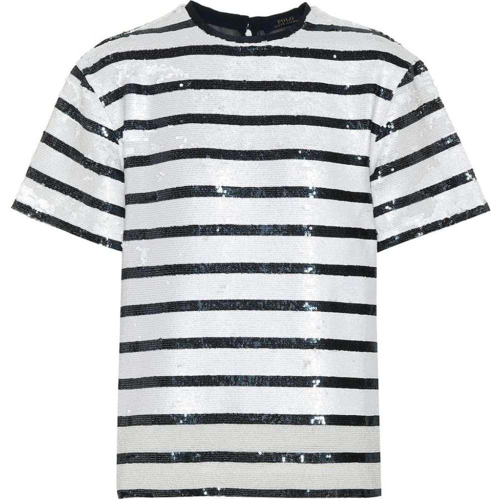 ラルフ ローレン Polo Ralph Lauren レディース Tシャツ トップス【Striped sequined T-shirt】Navy White