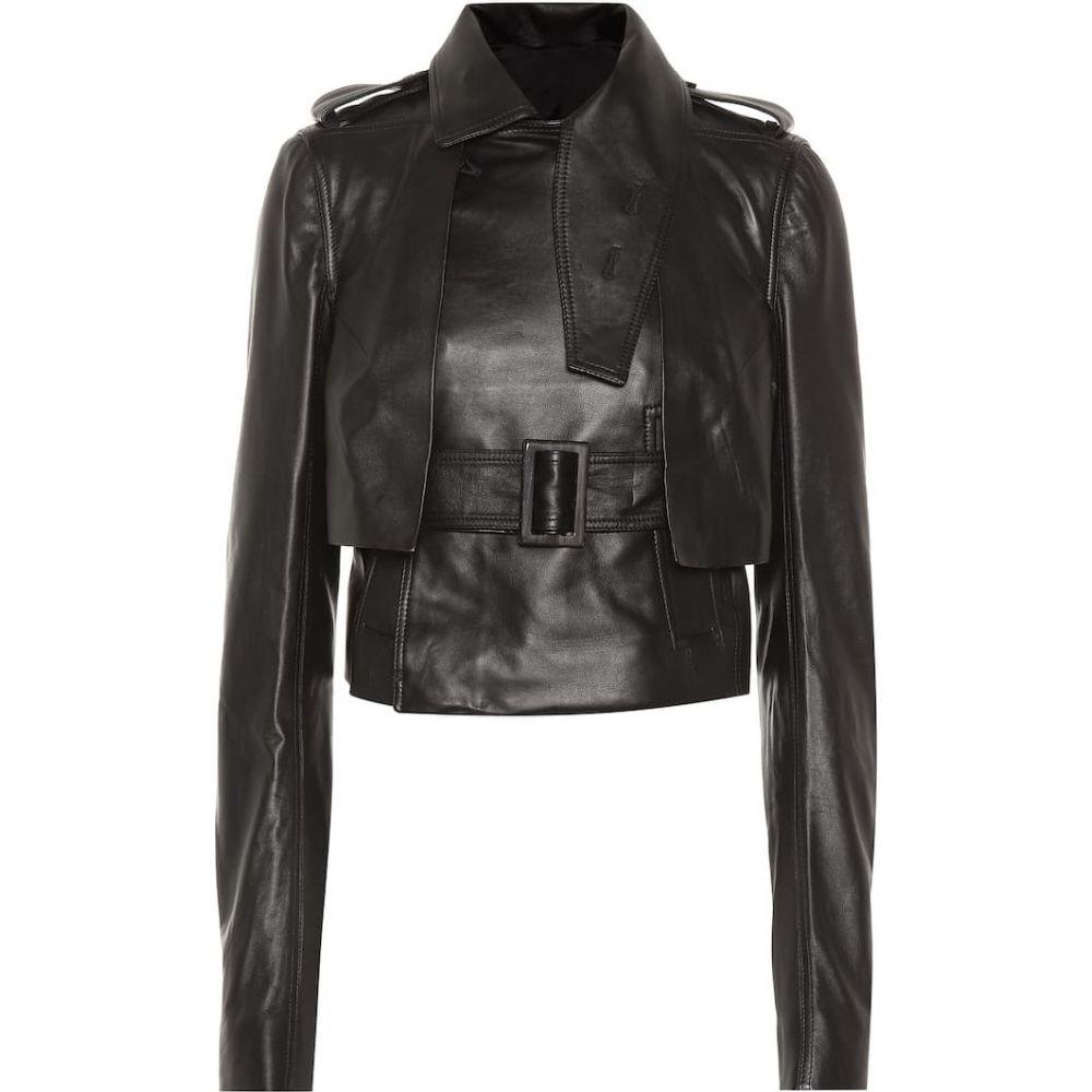 リック オウエンス Rick Owens レディース レザージャケット アウター【Leather jacket】Black