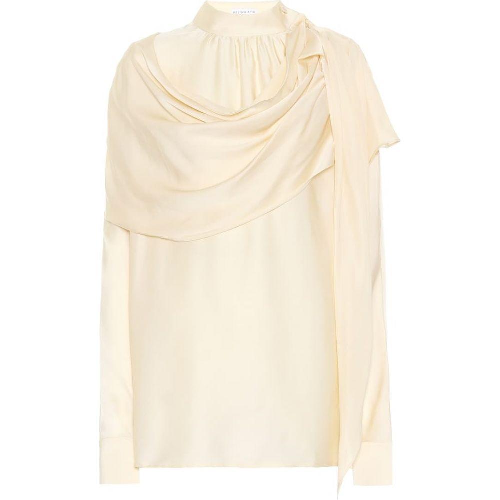 レジーナ ピヨ Rejina Pyo レディース ブラウス・シャツ トップス【Ira silk-satin cape blouse】ivory