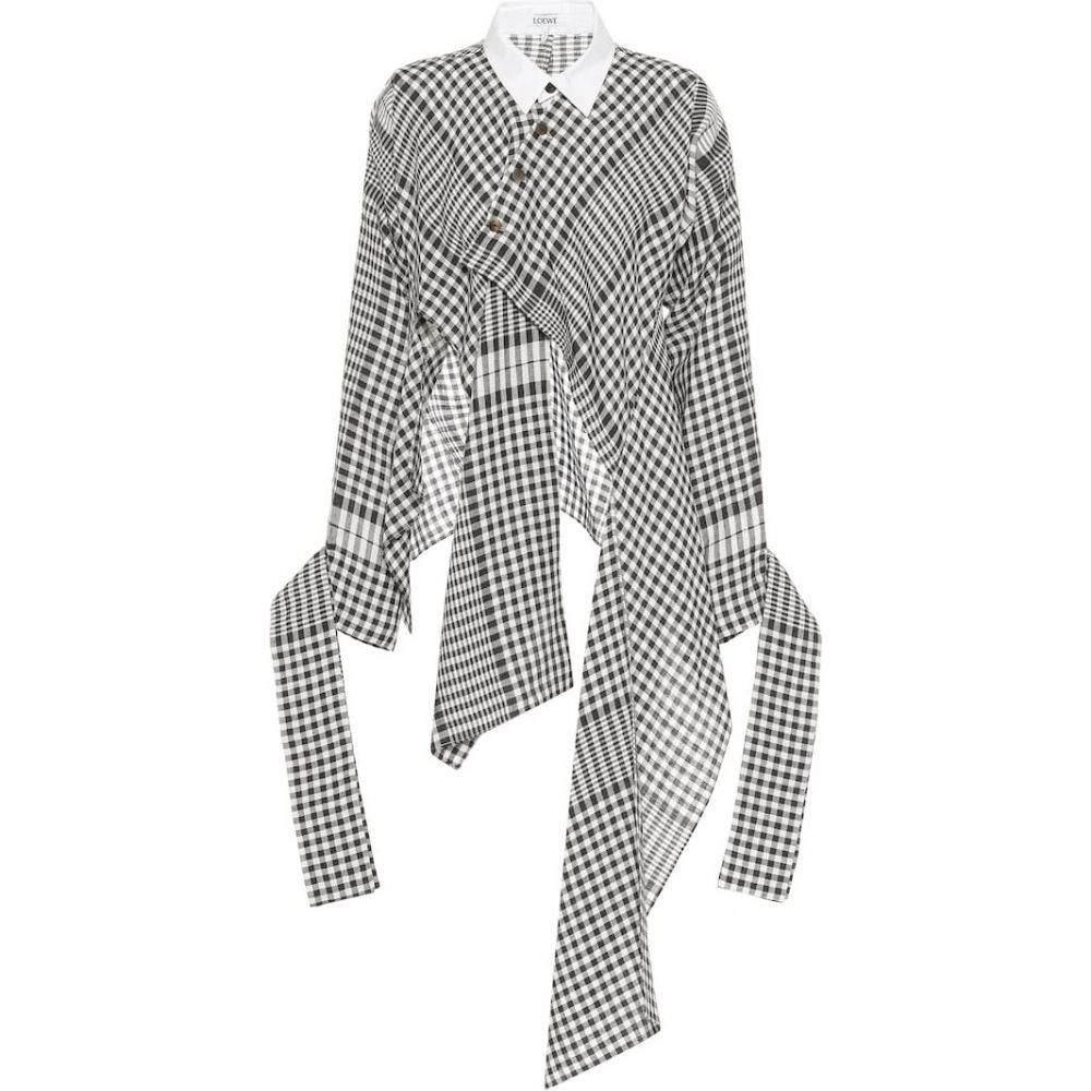 ロエベ Loewe レディース ブラウス・シャツ トップス【Checked linen shirt】Black/White