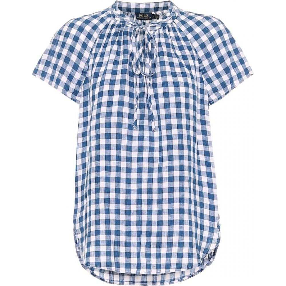 ラルフ ローレン Polo Ralph Lauren レディース ブラウス・シャツ トップス【Gingham linen blouse】Blue Wht