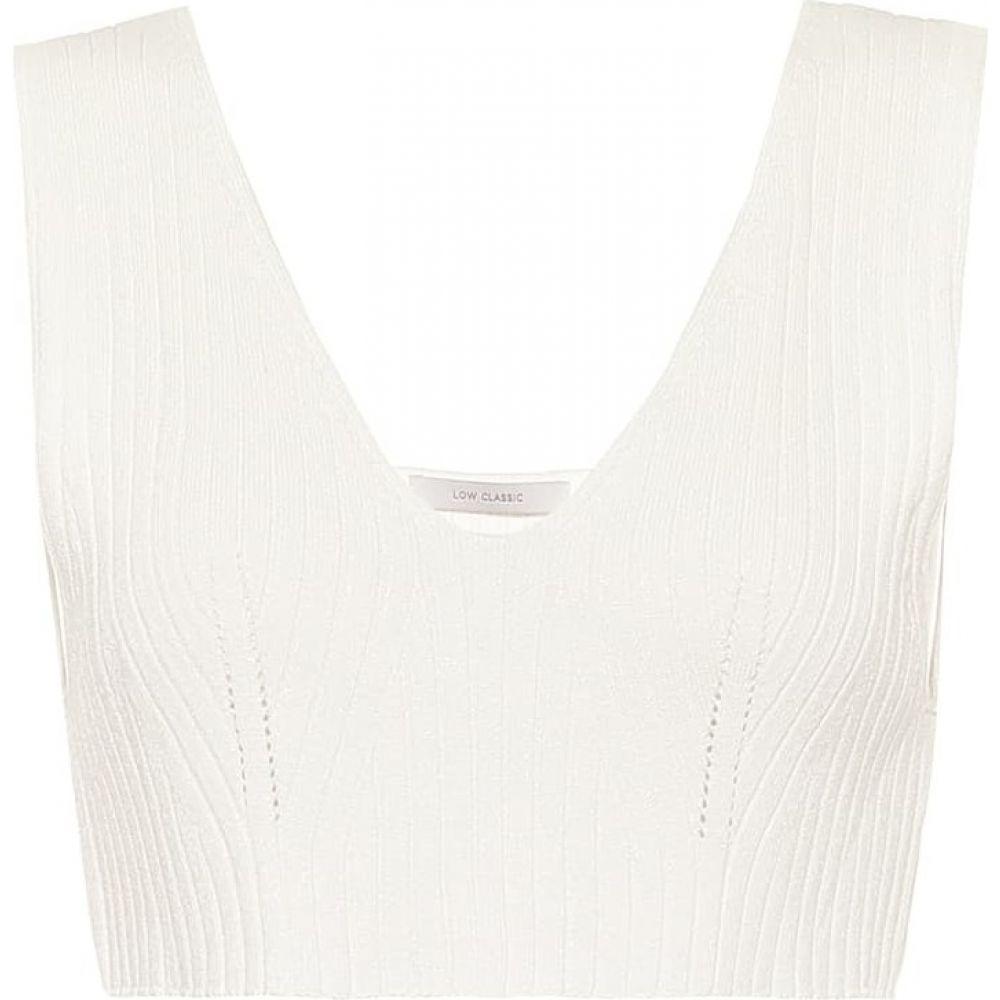 ロウ クラシック Low classic レディース ニット・セーター トップス【Ribbed-knit crop top】White