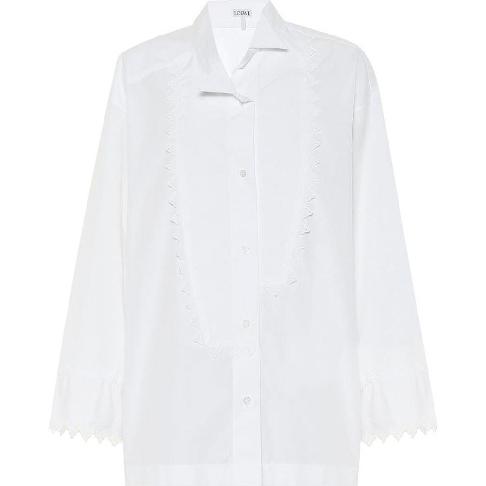 ロエベ Loewe レディース ブラウス・シャツ トップス【Cotton-poplin shirt】White