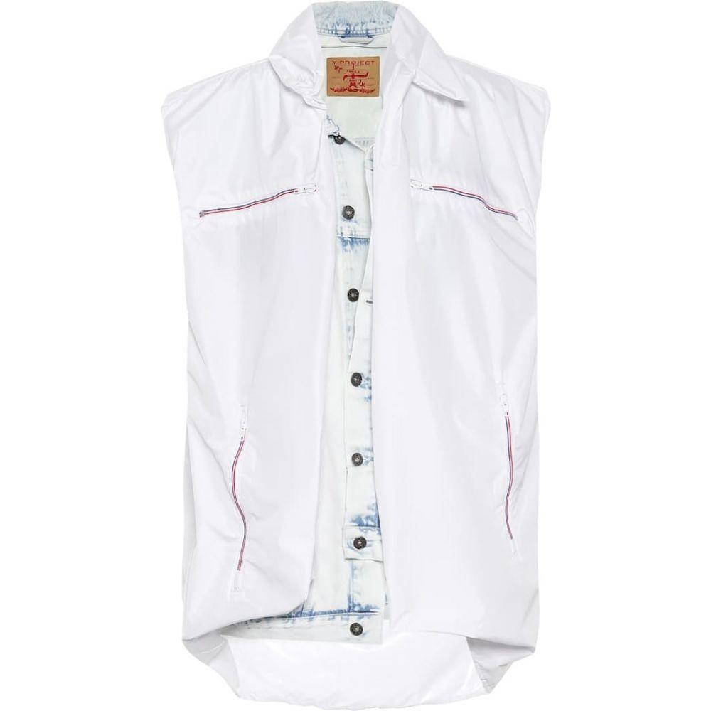 ワイプロジェクト Y/PROJECT レディース ベスト・ジレ トップス【Layered denim vest】white