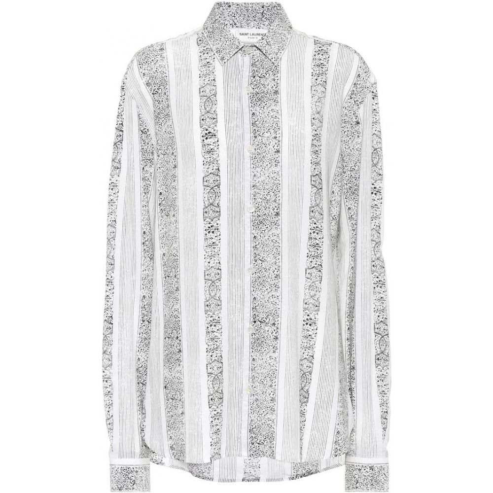 イヴ サンローラン Saint Laurent レディース ブラウス・シャツ トップス【Printed crepe blouse】Blanc