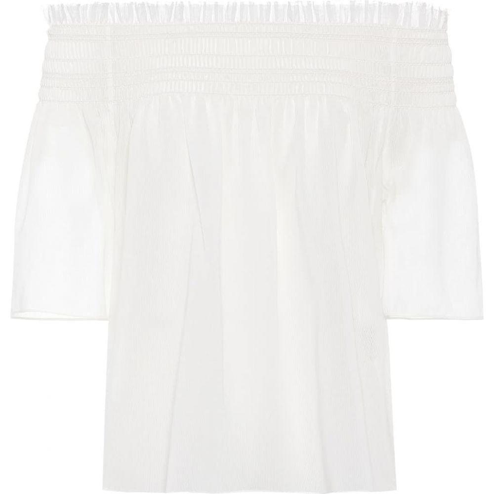 イヴ サンローラン Saint Laurent レディース オフショルダー トップス【Off-the-shoulder cotton top】Blanc