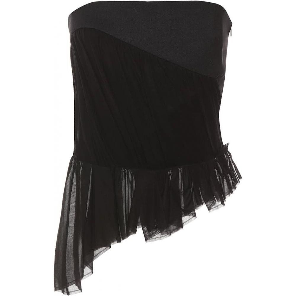 イヴ サンローラン Saint Laurent レディース ベアトップ・チューブトップ・クロップド トップス【Cotton and wool corset】Noir