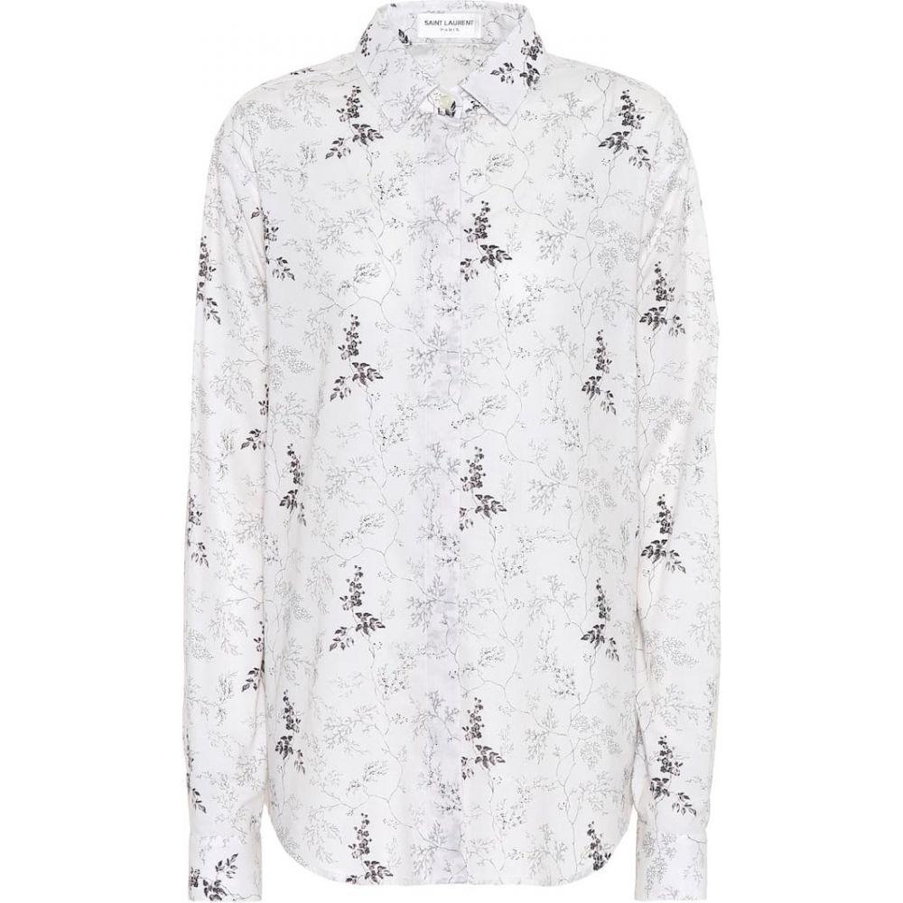 イヴ サンローラン Saint Laurent レディース ブラウス・シャツ トップス【Printed cotton shirt】Ivory/Noir
