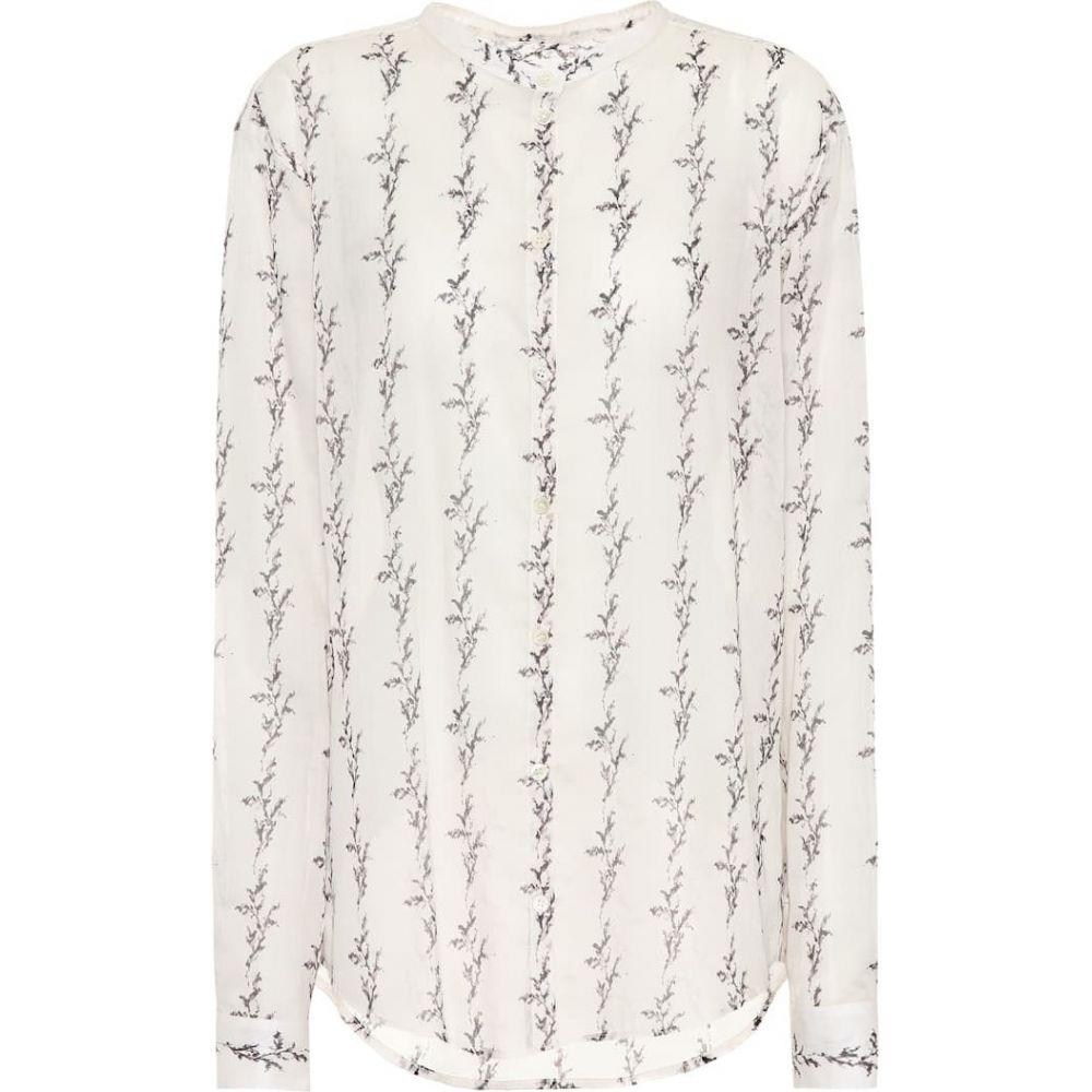 イヴ サンローラン Saint Laurent レディース ブラウス・シャツ トップス【Printed cotton shirt】Ivory Black