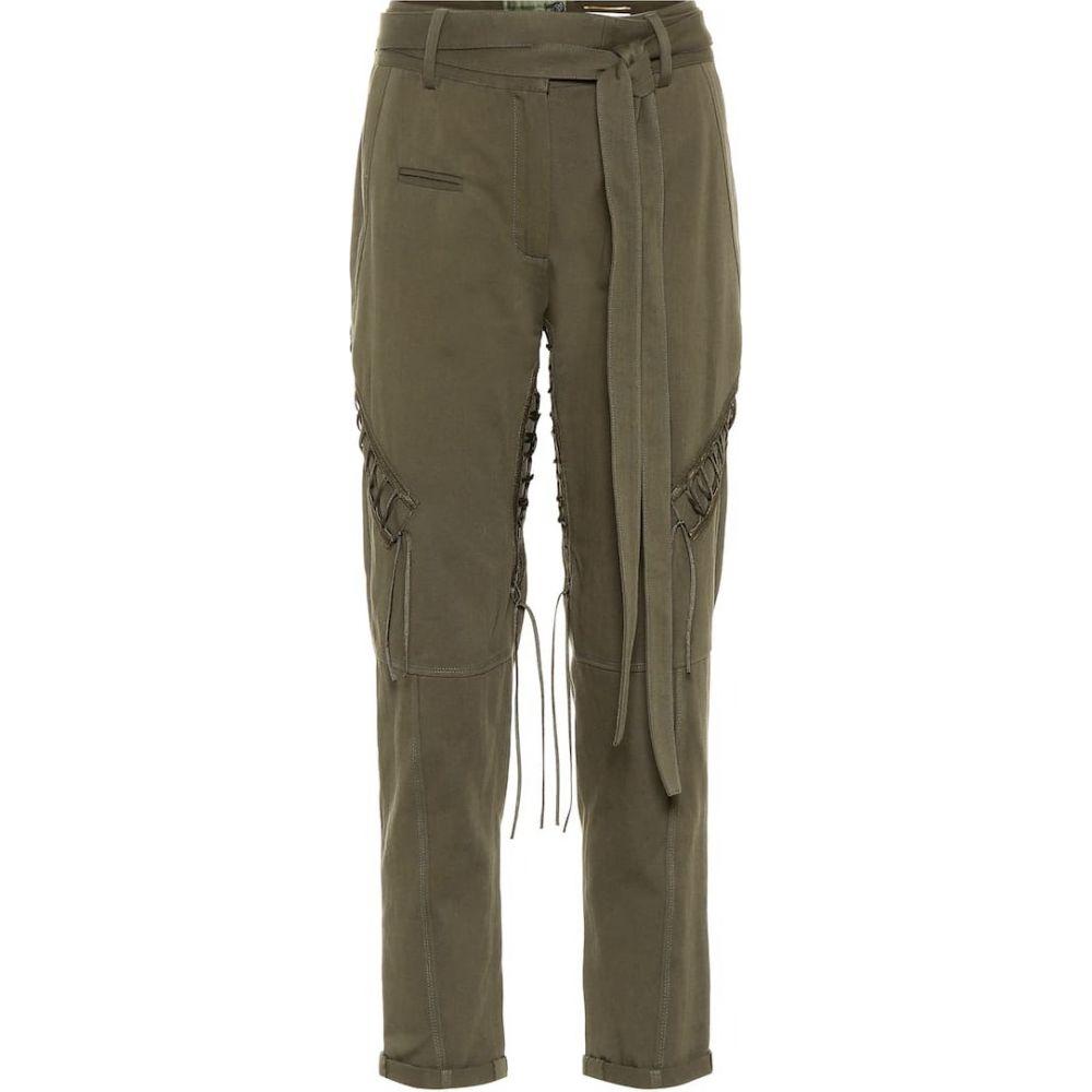イヴ サンローラン Saint Laurent レディース ボトムス・パンツ 【Cotton and linen trousers】Khaki