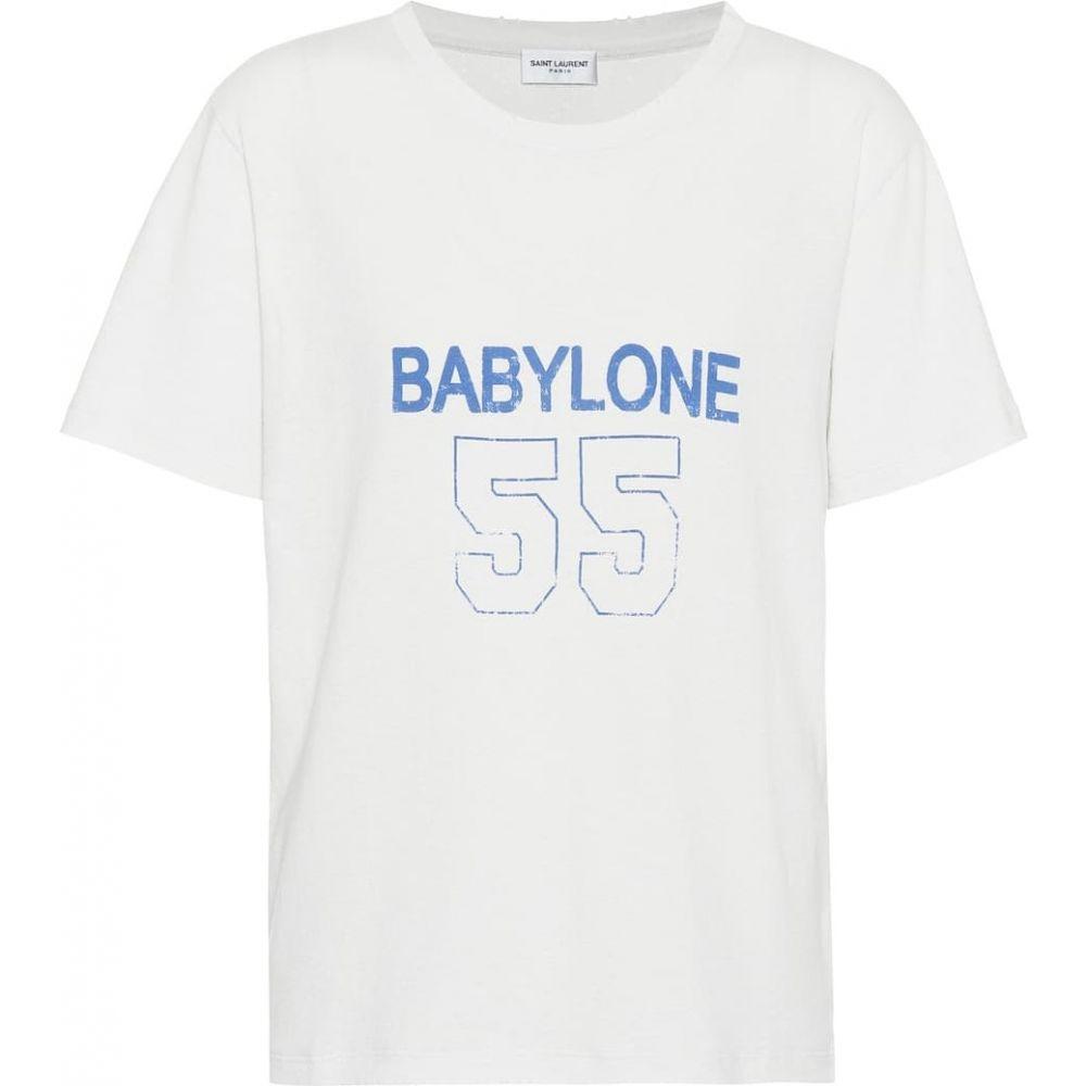 イヴ サンローラン Saint Laurent レディース Tシャツ トップス【Printed cotton T-shirt】Blanc