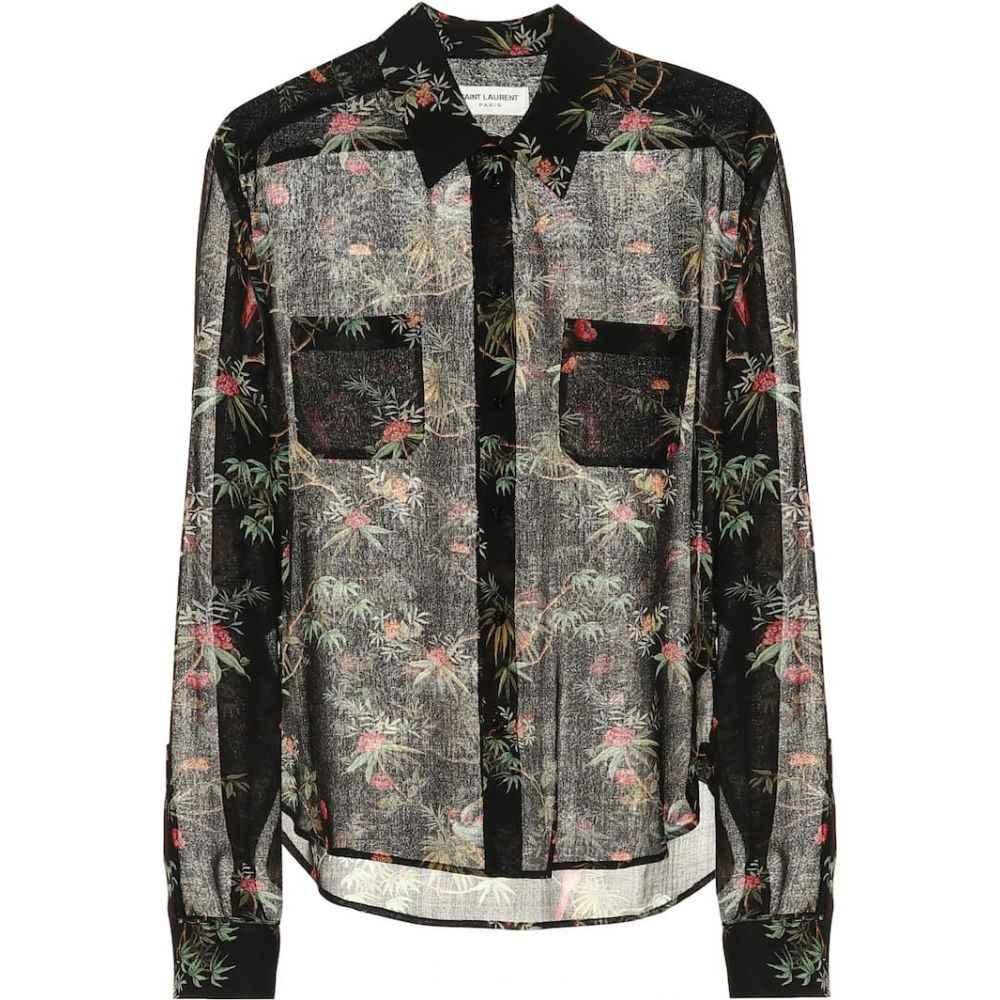 イヴ サンローラン Saint Laurent レディース ブラウス・シャツ トップス【Floral-printed virgin wool shirt】Black