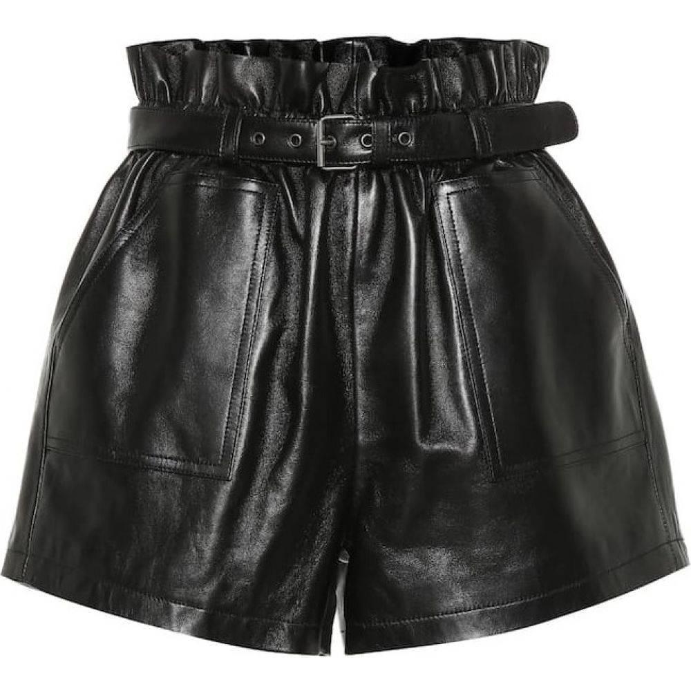 イヴ サンローラン Saint Laurent レディース ショートパンツ ボトムス・パンツ【High-rise leather shorts】Black
