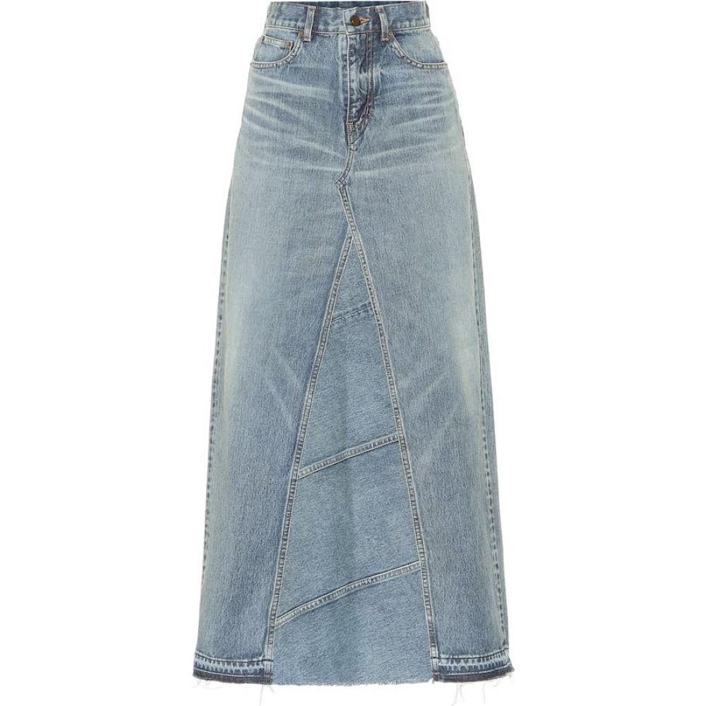 イヴ サンローラン Saint Laurent レディース ひざ丈スカート デニム スカート【Denim midi skirt】Medium Blue Patchwork
