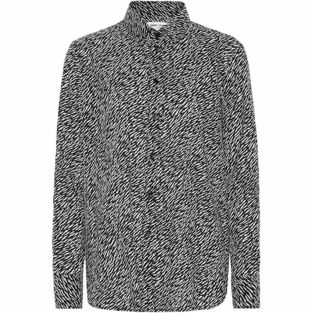 イヴ サンローラン Saint Laurent レディース ブラウス・シャツ トップス【Printed cotton shirt】Noir Craie