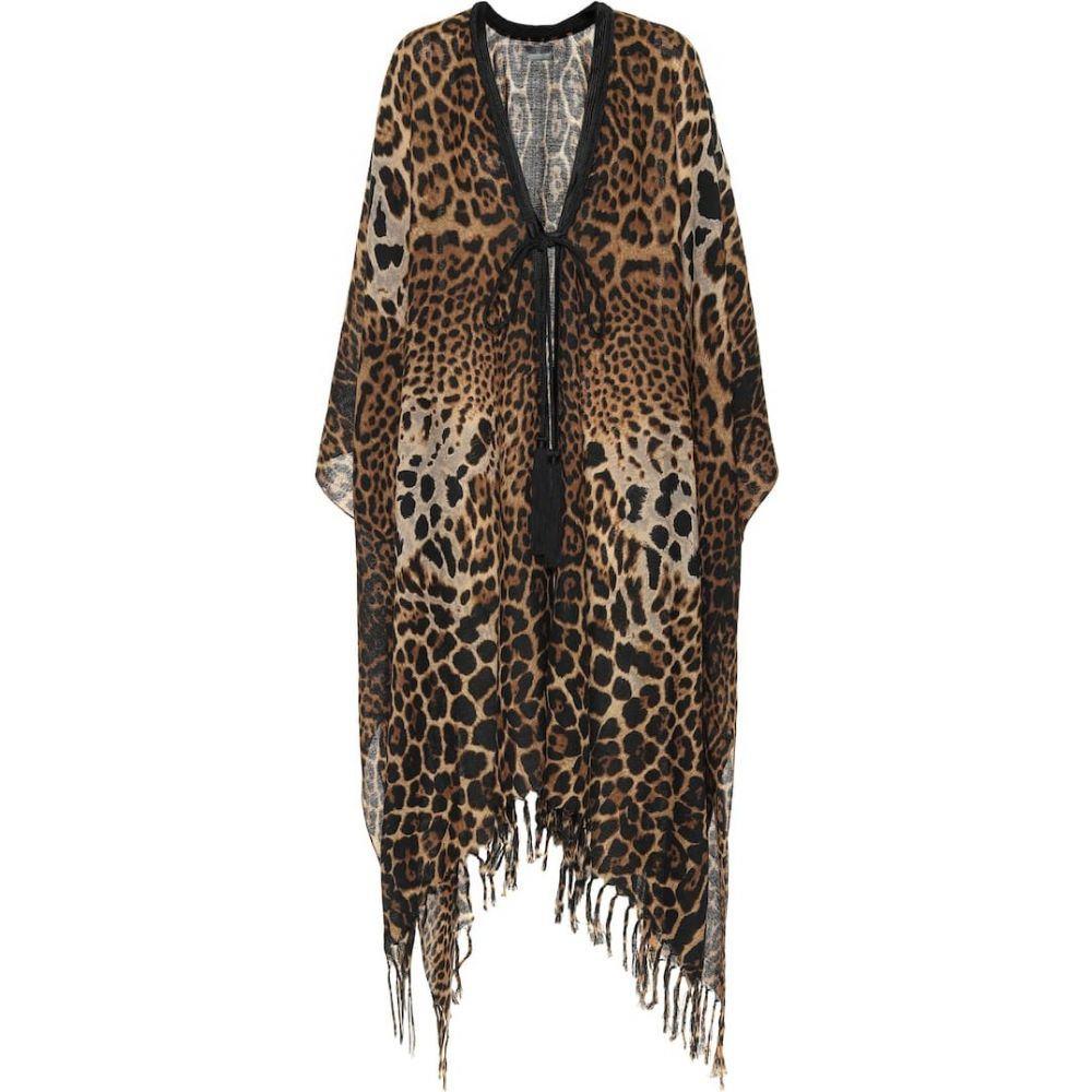 イヴ サンローラン Saint Laurent レディース ビーチウェア カフタン 水着・ビーチウェア【Leopard-print silk kaftan】Beige/Black