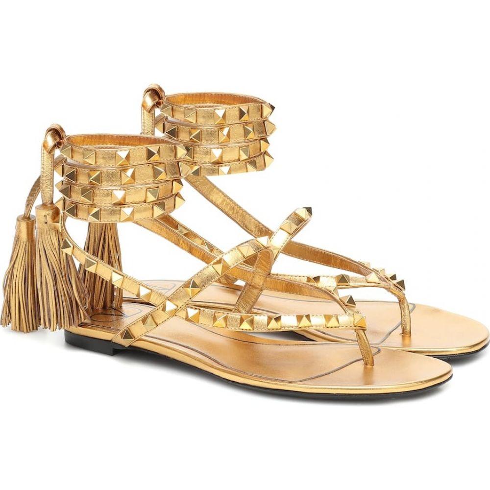 ヴァレンティノ Valentino レディース サンダル・ミュール シューズ・靴【Garavani Rockstud Flair leather sandals】Deep Gold