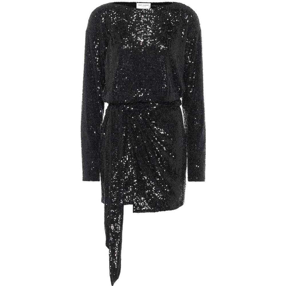 イヴ サンローラン Saint Laurent レディース パーティードレス ワンピース・ドレス【Sequined minidress】Black
