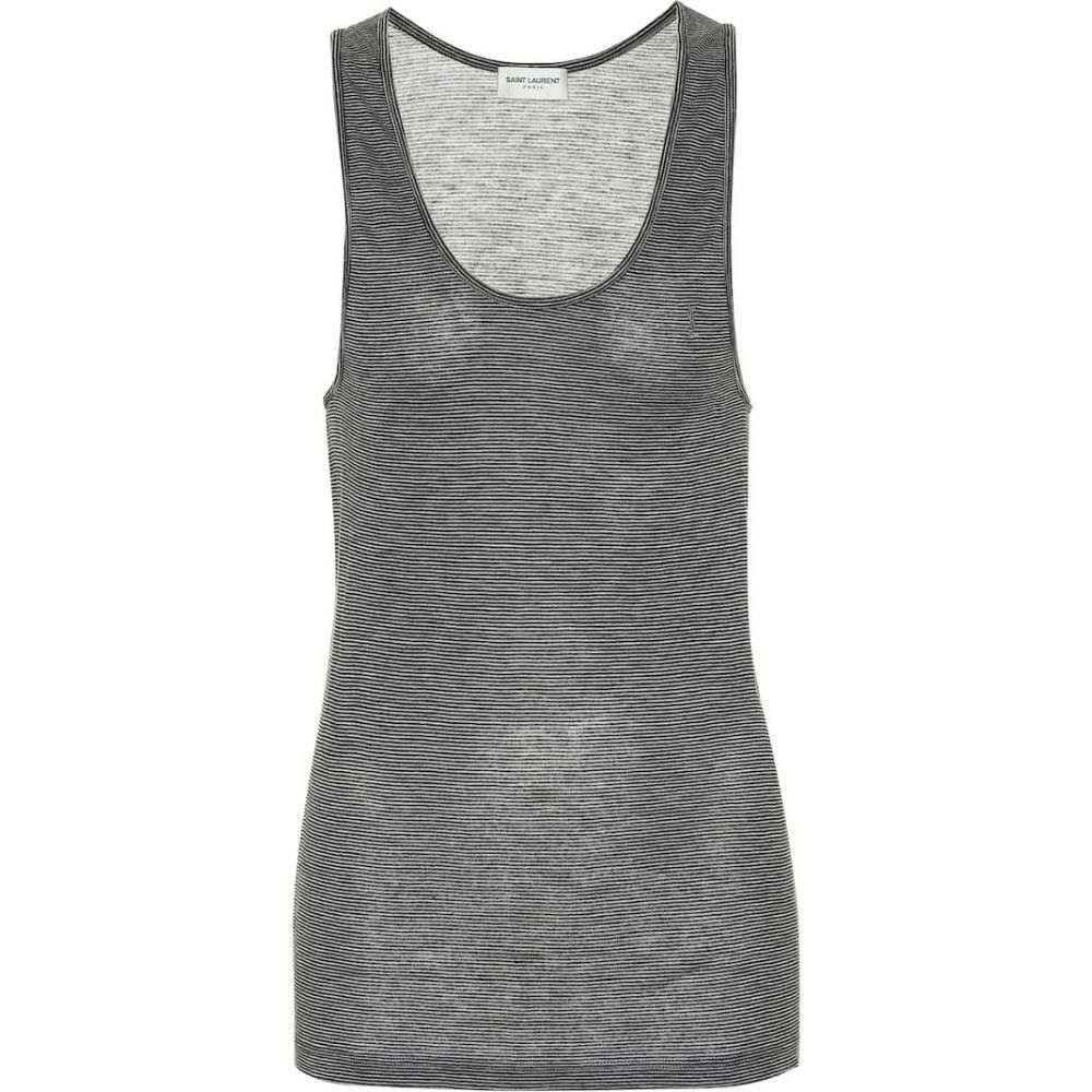 イヴ サンローラン Saint Laurent レディース タンクトップ トップス【Striped knit tank top】Grey