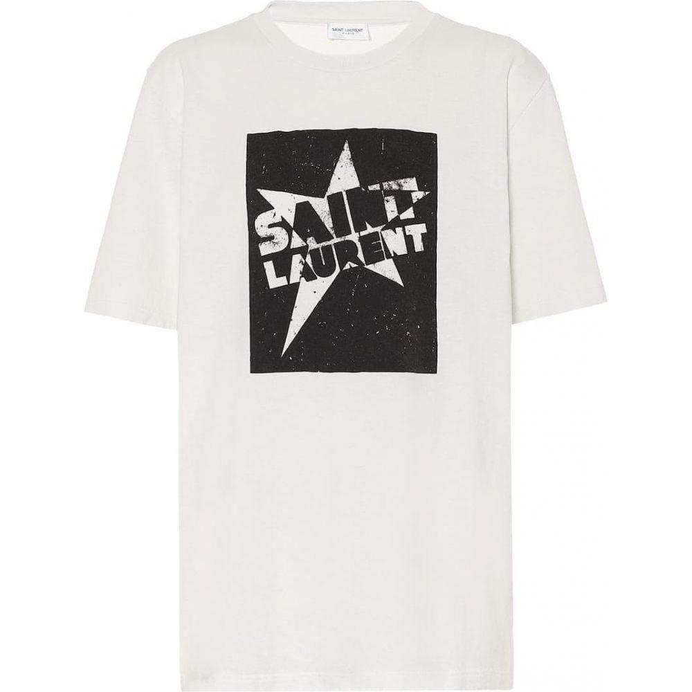 イヴ サンローラン Saint Laurent レディース Tシャツ トップス【Logo cotton-jersey T-shirt】White