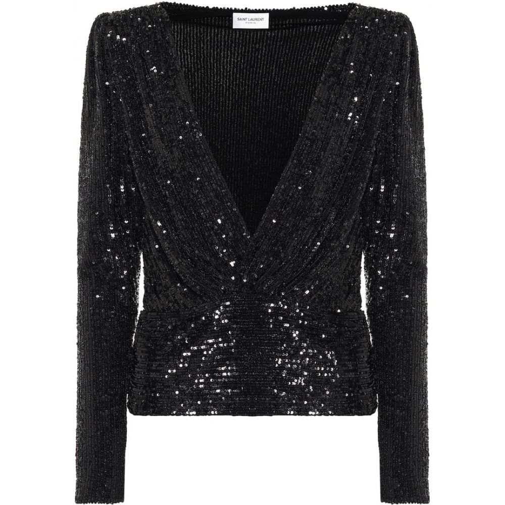 イヴ サンローラン Saint Laurent レディース ブラウス・シャツ トップス【Sequined blouse】Black