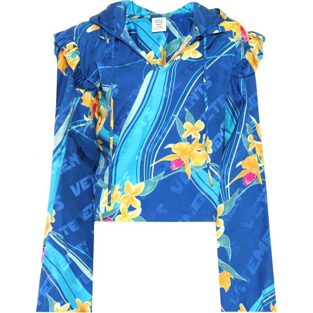 ヴェトモン Vetements レディース トップス 【Floral-printed silk top】Blue & Hawaii