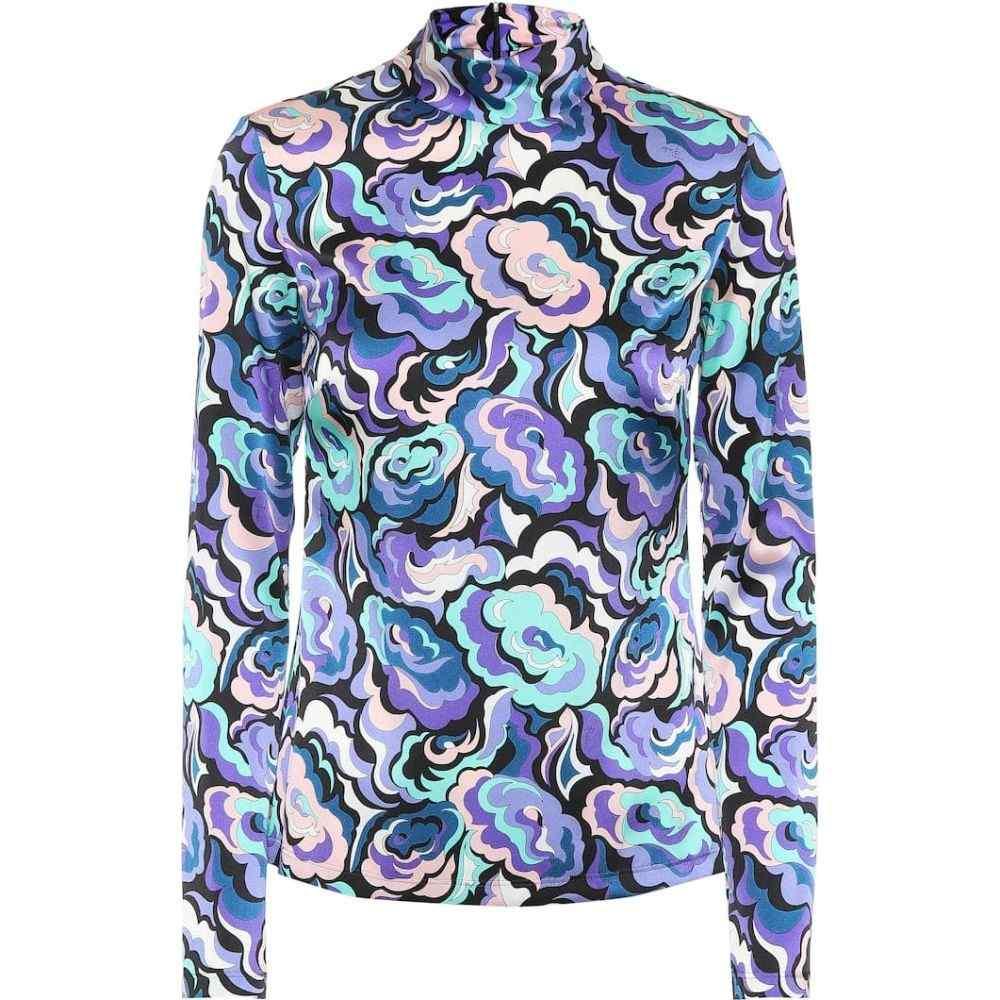 エミリオ プッチ Emilio Pucci レディース トップス 【Stretch silk printed top】Cobalto