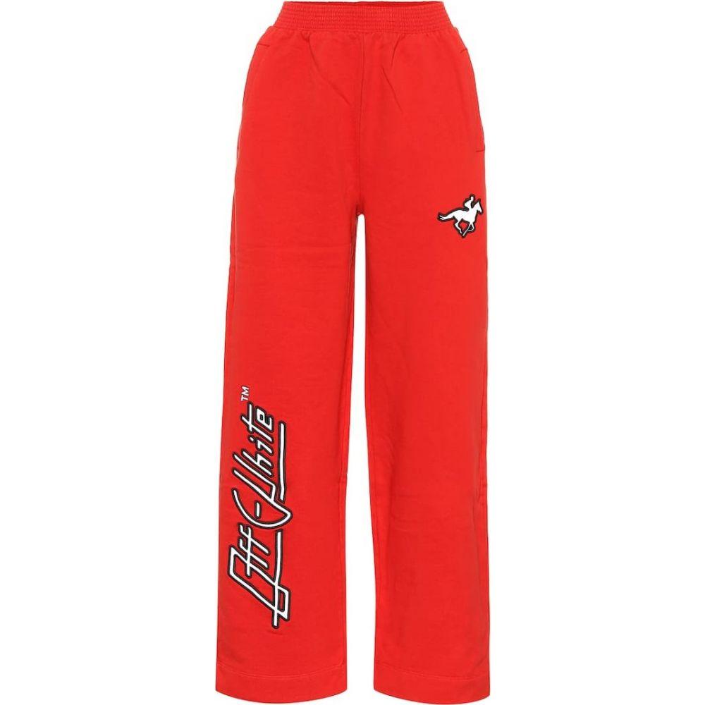 オフホワイト Off-White レディース ボトムス・パンツ 【Cotton wide-leg pants】red
