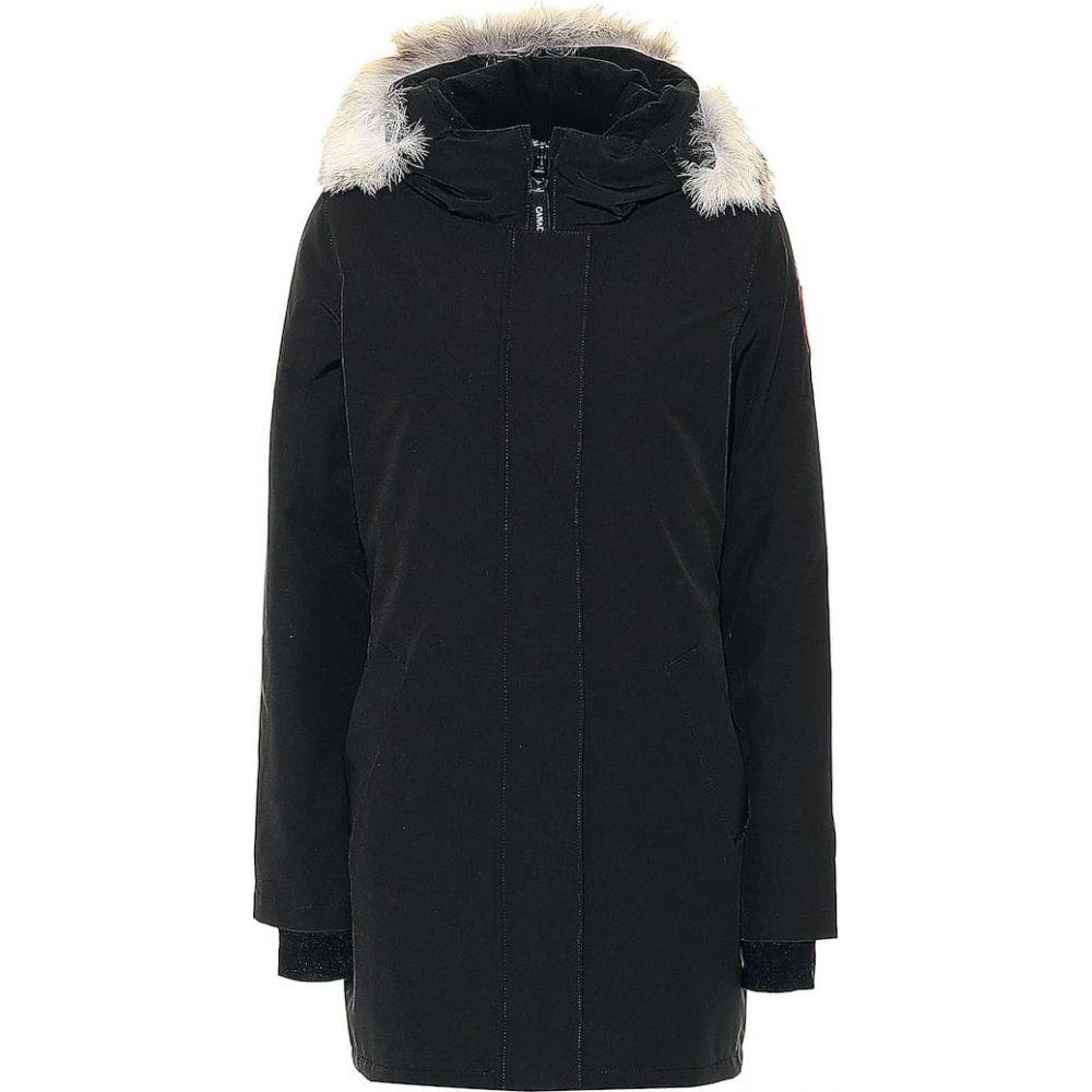 カナダグース Canada Goose レディース コート アウター【Victoria fur-trimmed parka】Black - Noir
