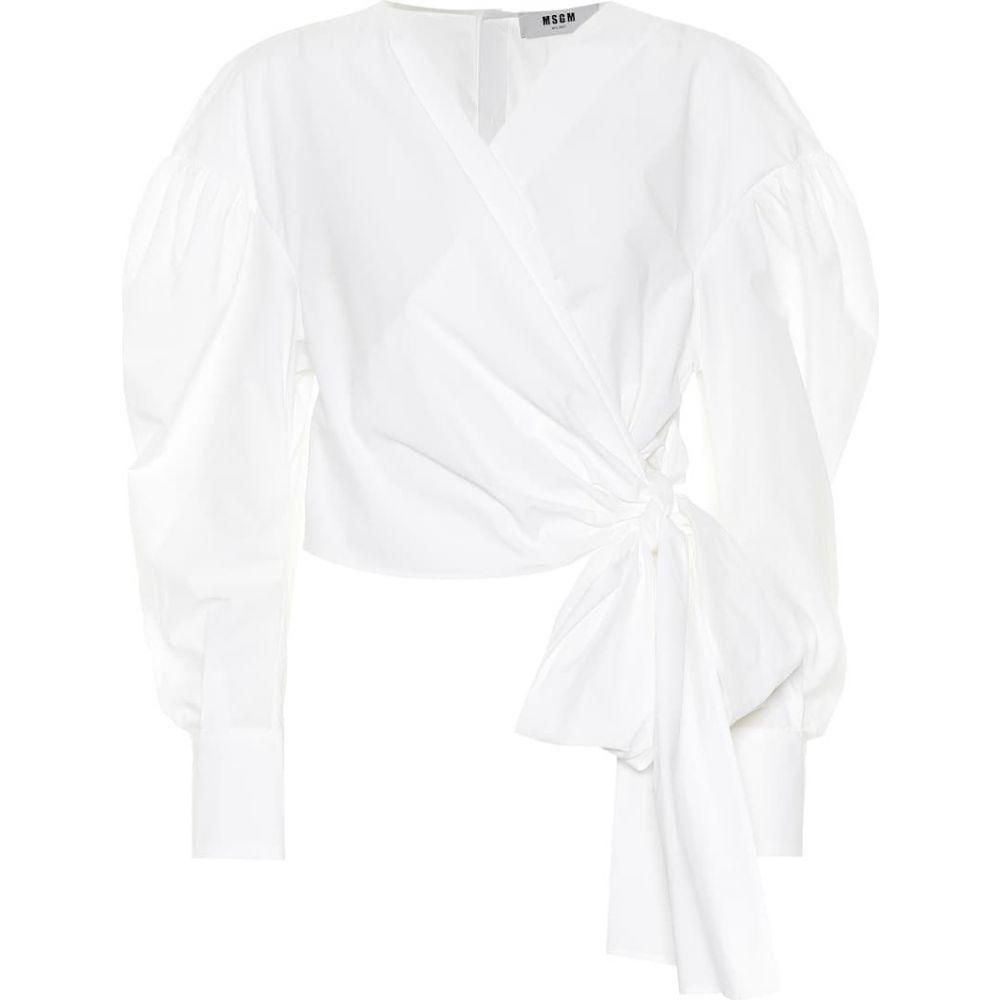 エムエスジーエム MSGM レディース トップス 【Cotton poplin wrap top】White