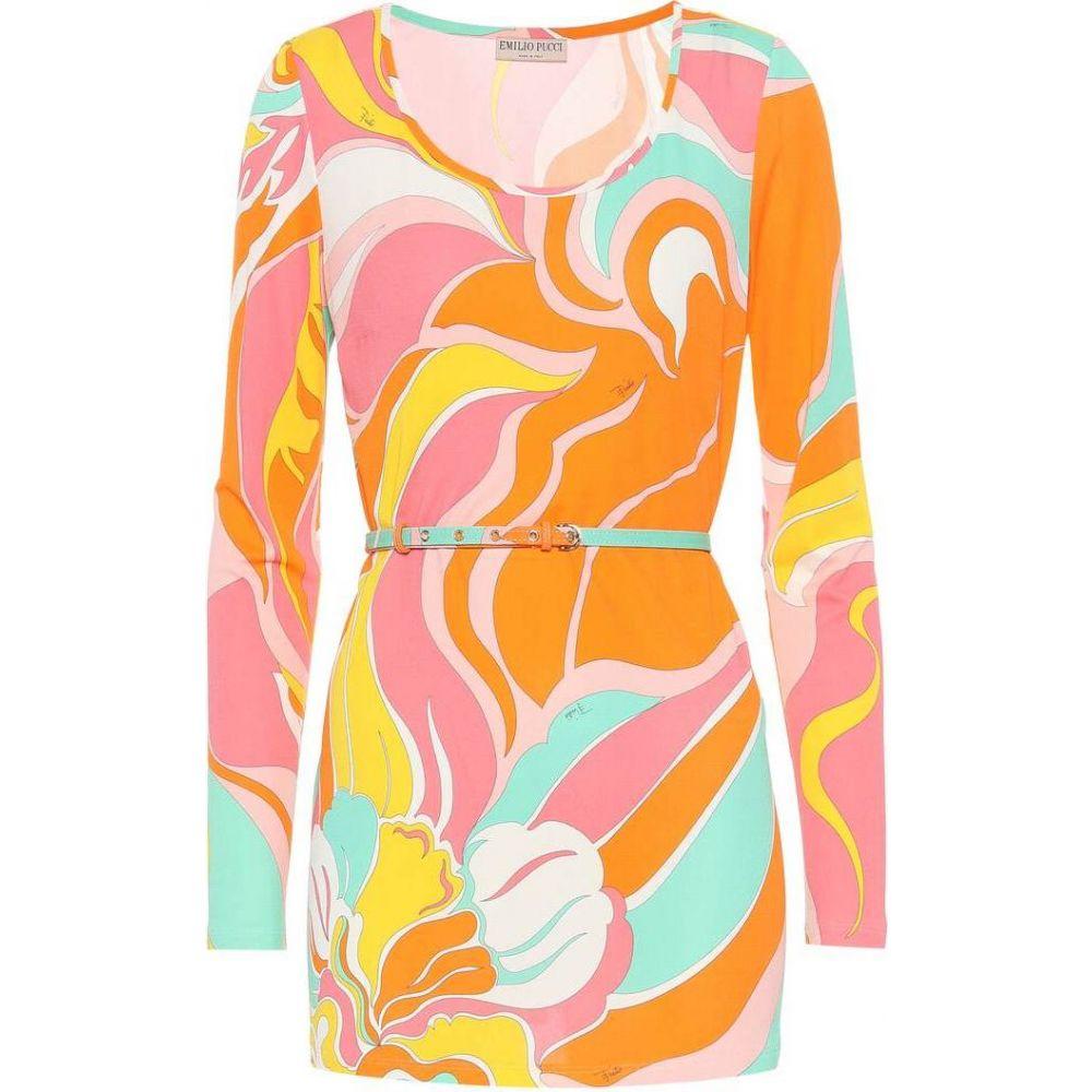 エミリオ プッチ Emilio Pucci レディース トップス 【Printed silk-blend jersey top】Arancio/Rosa