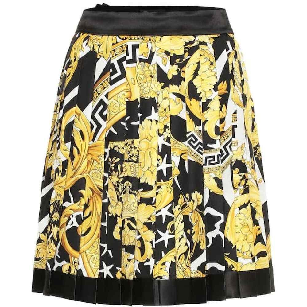 ヴェルサーチ Versace レディース ミニスカート スカート【Baroque pleated silk miniskirt】Gold/Print