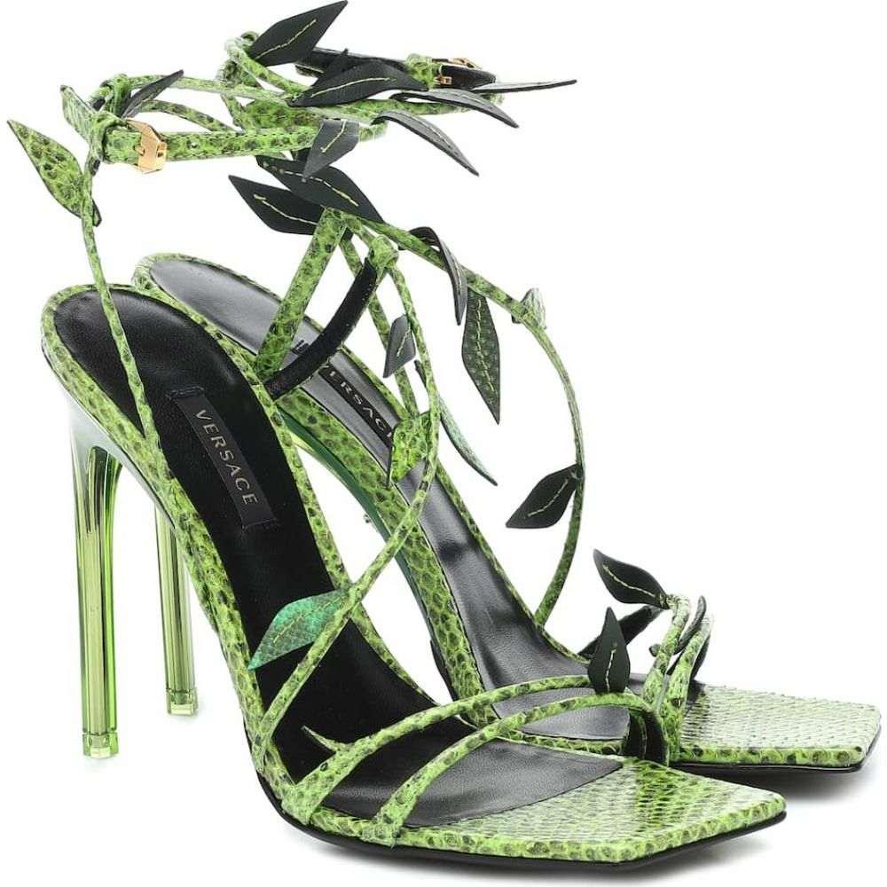 ヴェルサーチ Versace レディース サンダル・ミュール シューズ・靴【Snakeskin sandals】Multicolor Green-Gold
