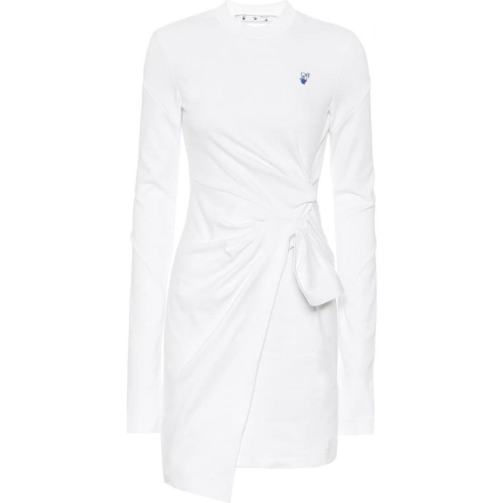 オフホワイト Off-White レディース ワンピース ワンピース・ドレス【Cotton-jersey minidress】White Blue