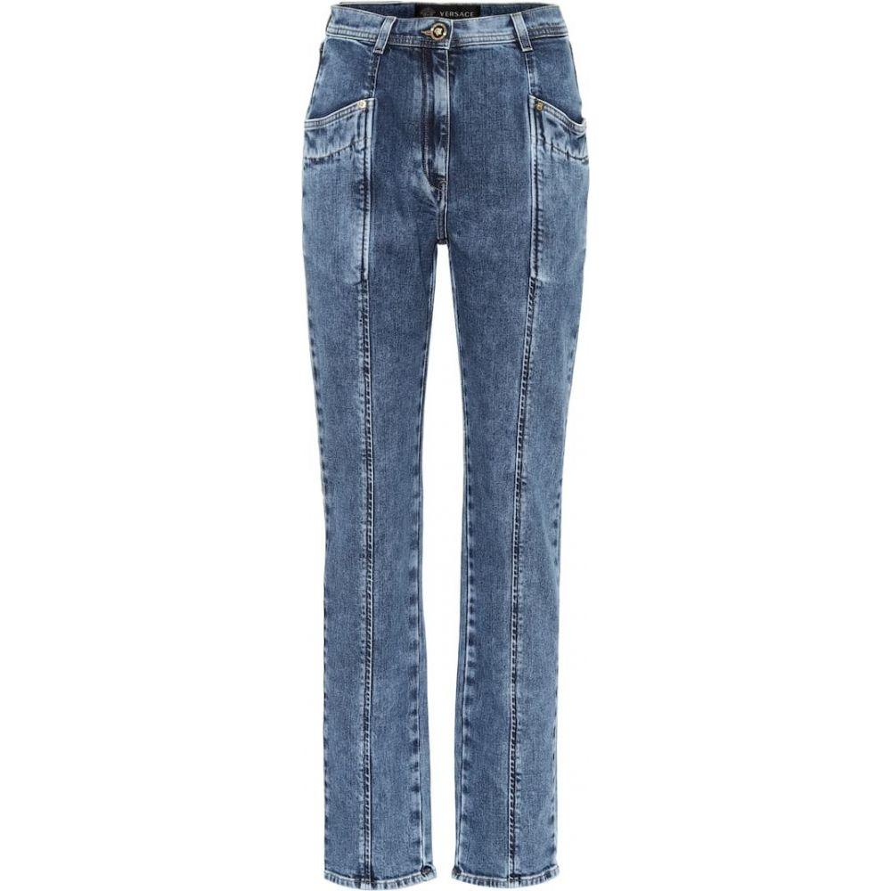 ヴェルサーチ Versace レディース ジーンズ・デニム ボトムス・パンツ【High-rise straight jeans】Denim Indigo Marmorizzato