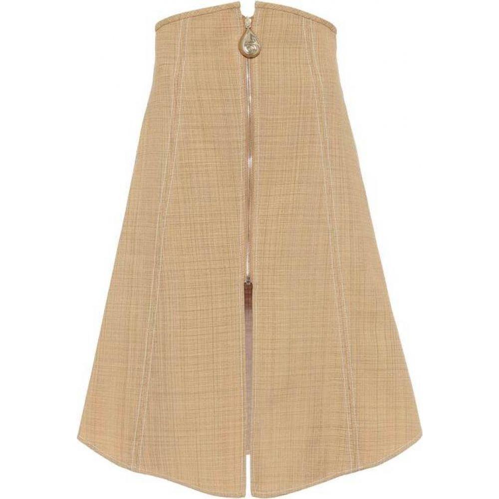 エラリー Ellery レディース ひざ丈スカート スカート【Natural Wonders cotton-blend midi skirt】Tan