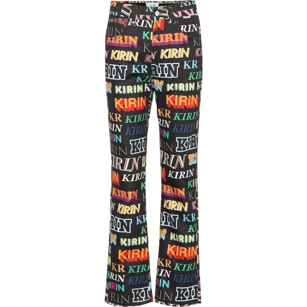 キリン Kirin レディース ジーンズ・デニム ボトムス・パンツ【Logo high-rise wide-leg jeans】Black Multi