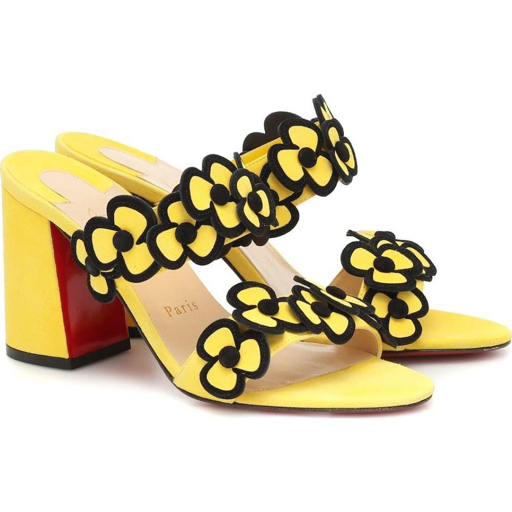 クリスチャン ルブタン Christian Louboutin レディース サンダル・ミュール シューズ・靴【Tres Pansy 85 suede sandals】Banana/Black
