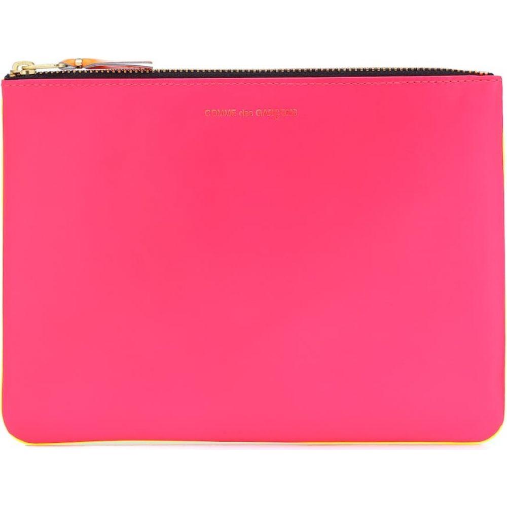 コムデギャルソン Comme Des Garcons Wallet レディース ポーチ 【Super Fluo Large leather pouch】Pink/Yellow