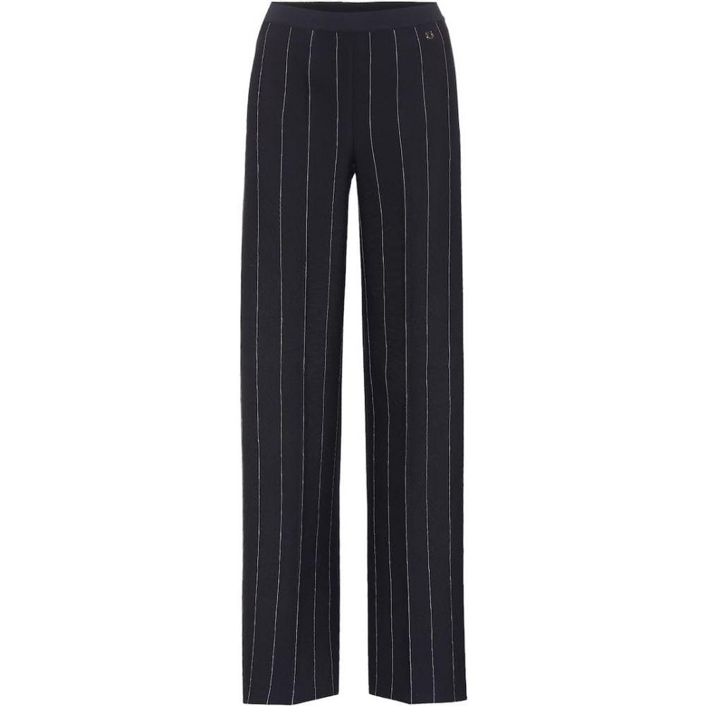 サルヴァトーレ フェラガモ Salvatore Ferragamo レディース ボトムス・パンツ 【Striped crepe wide-leg trousers】Navy
