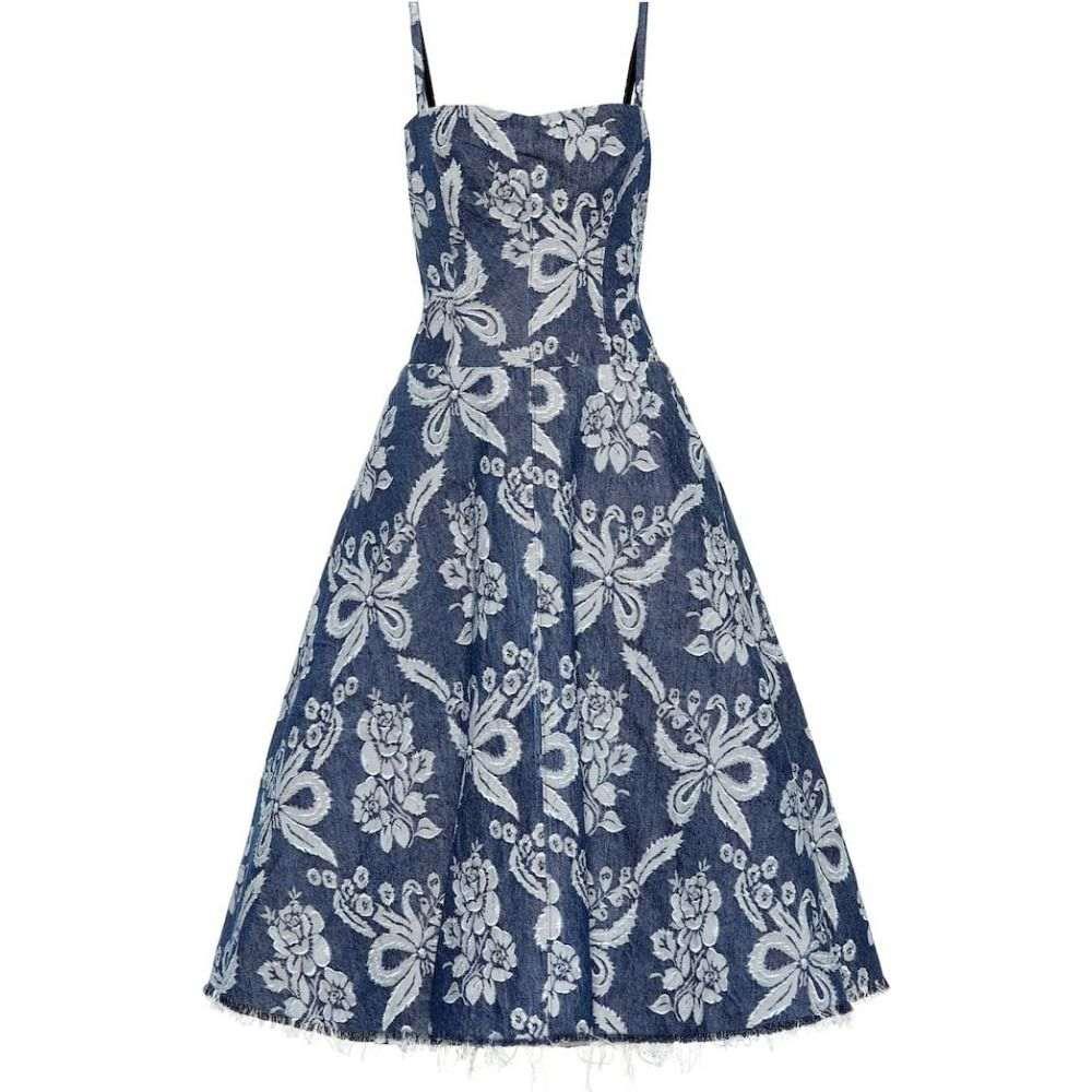 ジュンヤ ワタナベ Junya Watanabe レディース ワンピース デニム ワンピース・ドレス【Floral-embroidered denim dress】Dark In/White