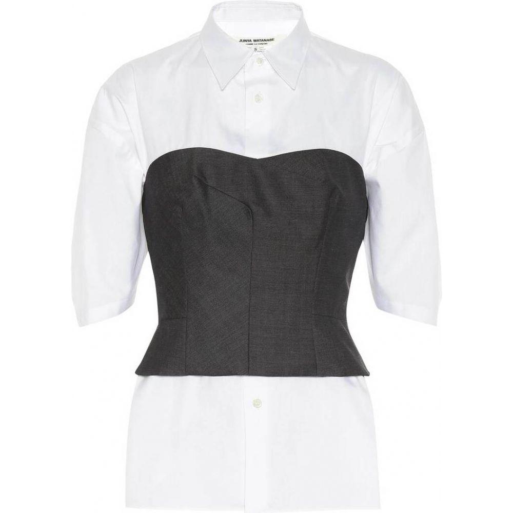 ジュンヤ ワタナベ Junya Watanabe レディース ブラウス・シャツ トップス【Cotton shirt】White x Gray