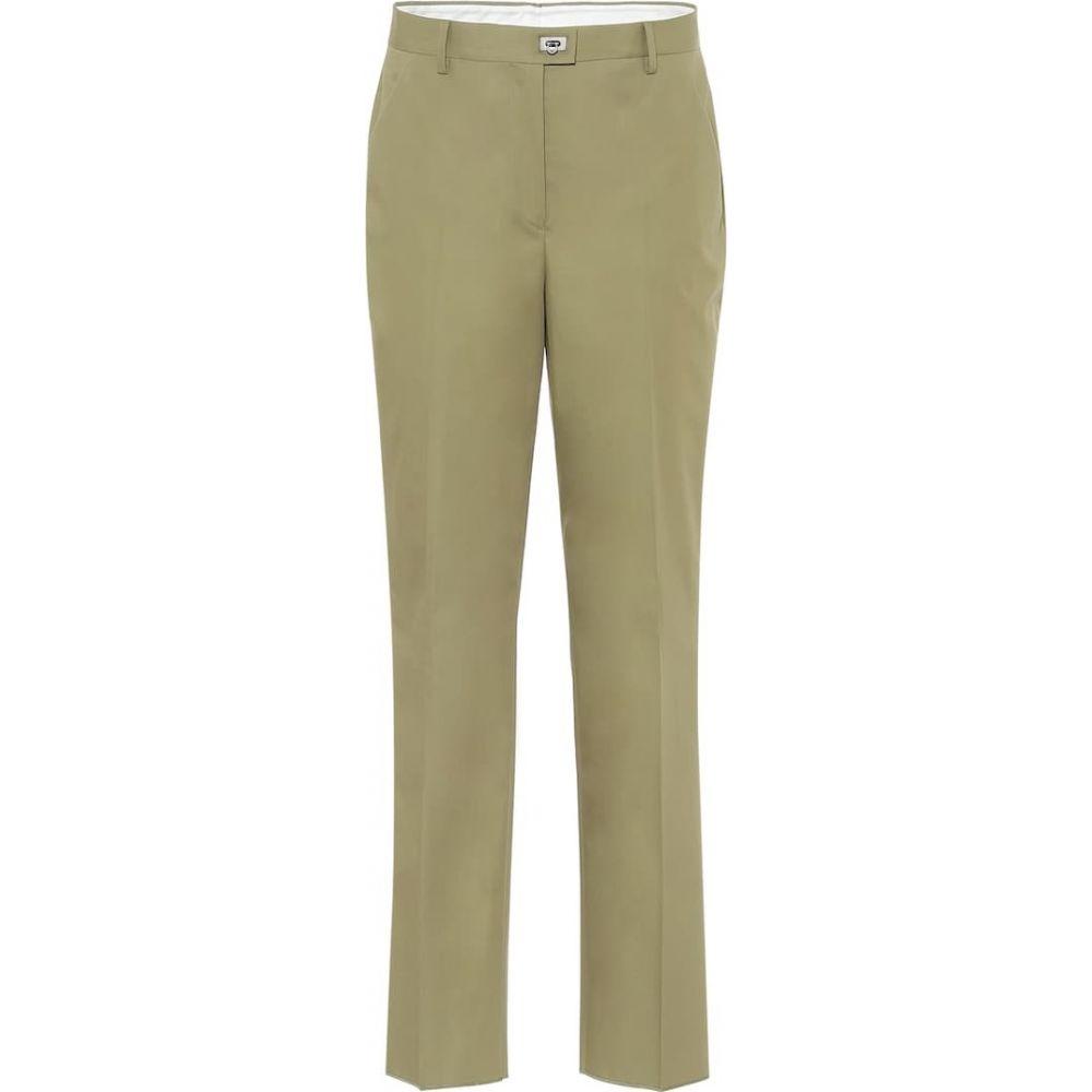 サルヴァトーレ フェラガモ Salvatore Ferragamo レディース ボトムス・パンツ 【High-rise straight cotton pants】Khaki