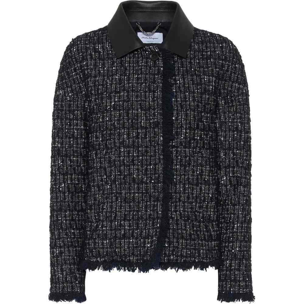 サルヴァトーレ フェラガモ Salvatore Ferragamo レディース スーツ・ジャケット アウター【Tweed jacket】Navy