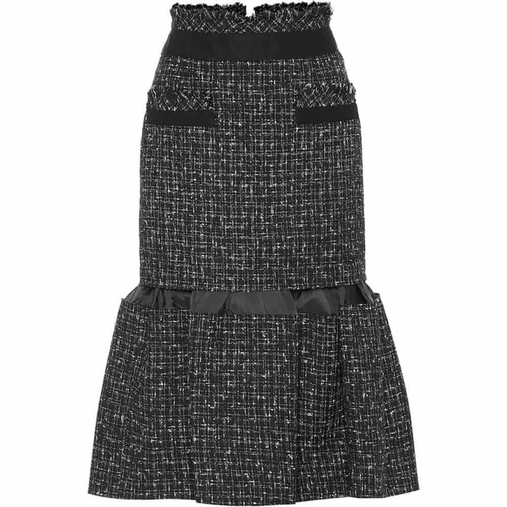 サカイ Sacai レディース ひざ丈スカート スカート【Tweed midi skirt】Black