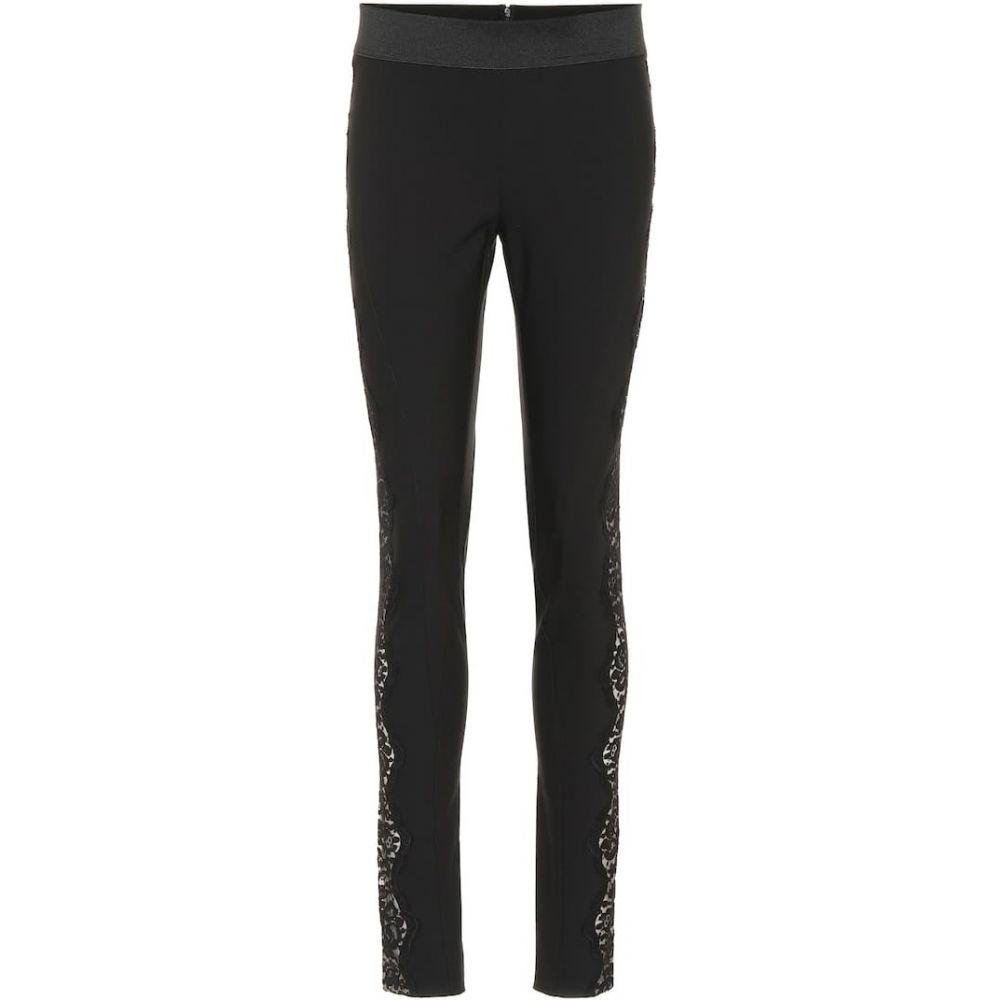ステラ マッカートニー Stella McCartney レディース スキニー・スリム ボトムス・パンツ【Lace-trimmed skinny pants】BLACK
